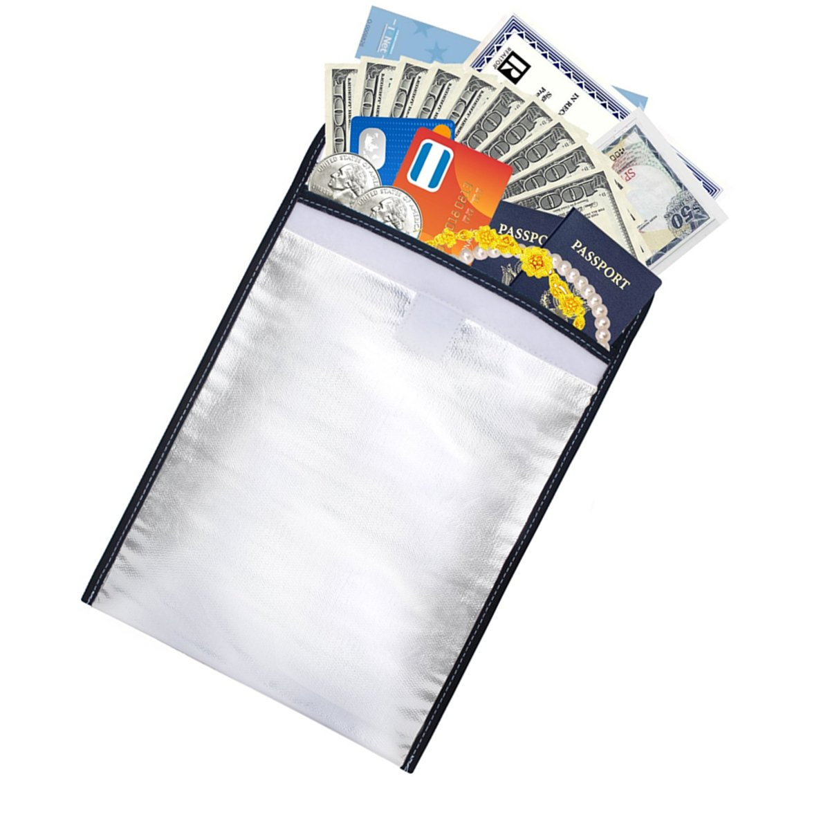 Fireproof Safe Bag,Winloop Non Itchy Aluminum Foil Coated Waterproof Cash Document Bag Envelope Pouch with Velcro for Money, ID Card, Passport, LIPO Batteries, Jewelry and Valuables(13''10'') (Silver)