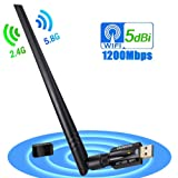ANEWKODI WiFi 無線lan 子機 1200Mbps 5dBi USB3.0用 放熱 デュアルバンド 高速モデル アンテナ 無線lan アダプタ 360度回転 可動式(5.8GHz/867Mbps+2.4 GHz/300Mbps)11ac技術 11ac/n/a/g/b Windows7/8/10/XP/Vista/Linux/Mac対応