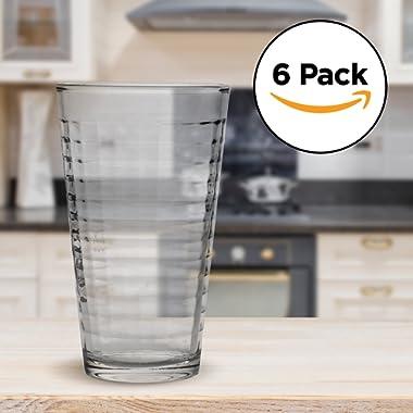 Amethya Tea Glasses Set, Latte & Coffee Glass Cups, 12-Ounce (Glass Cups)