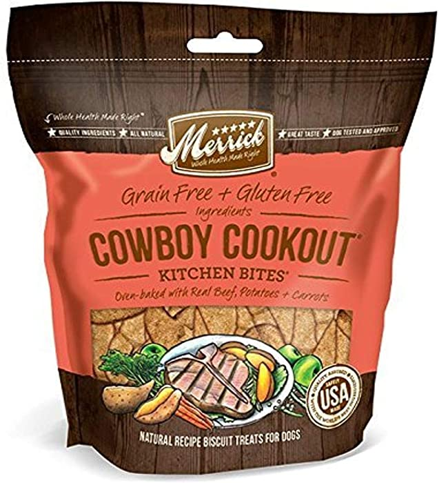 Merrick Kitchen Bites All Natural Grain Free Gluten Free Soft & Chewy Chews Dog Treats, 9 oz Pouch