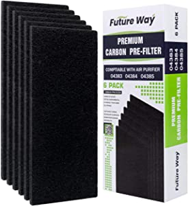 Future Way 6-Pack Odor Eliminators Carbon Pre-Filter Set, Compatible with Hamilton Beach 04383 Air Purifer, Thickened to 11MM, Pre Cut