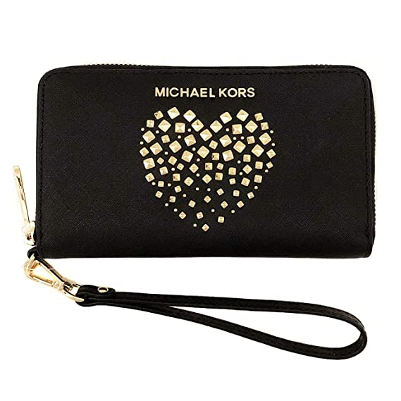 84aa94904ef3 Michael Kors New Womens Black Leather Heart MK Purse (Phone Wallet) Gift  Boxed: Amazon.co.uk: Clothing