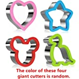 Stainless Steel Sandwiches Cutter, Mickey Mouse & Dinosaur & Heart & Star Shapes Cookie cutter Biscuit Cutter -Food Grade Biscuit Mold Cookie Cutter for Kids Suitable for Cakes and Cookie (Big, 4pack)