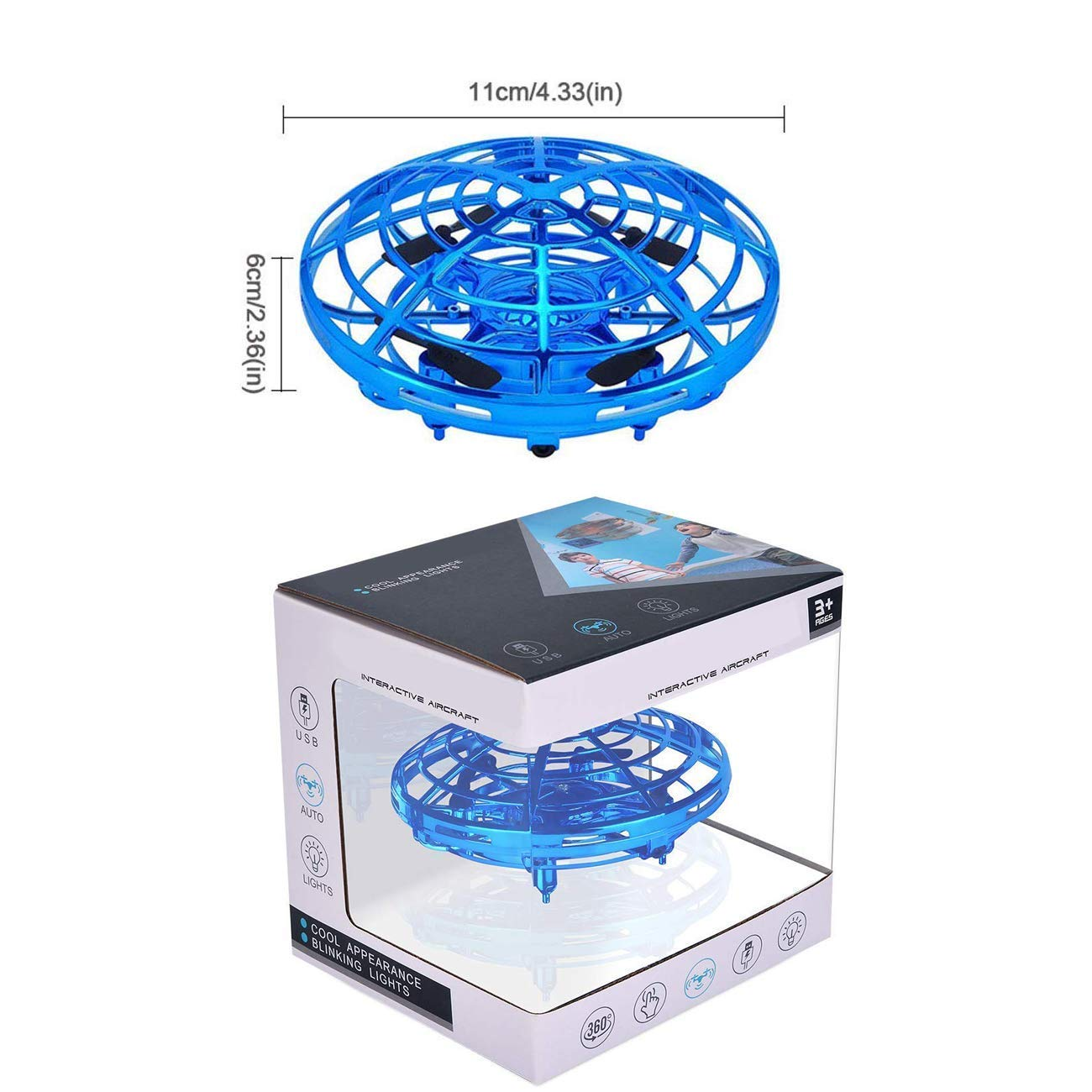 VENAS Flying Ball Toy Drones, Hand-Controlled Drone Quadcopter Flying Toys Interactive Infrared Induction Helicopter Ball with 360°Rotating and Flashing LED Lights for Boys and Girls Kids Gifts by VENAS (Image #7)