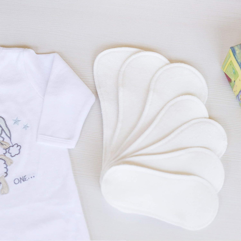 Compresas de tela reutilizables, pack de 7 compresas ecologicas de bambú puro con alas; HECHAS EN LA UE, para menstruación, postparto, incontinencia; ...