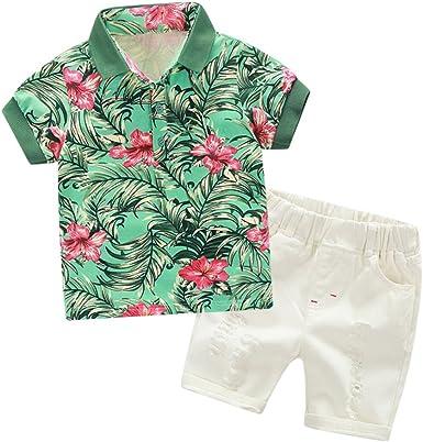 ESHOO Camisa Casual de algodón con Estampado Floral de Niños pequeños Tops Shorts Blancos Conjunto de Ropa de 2 Piezas