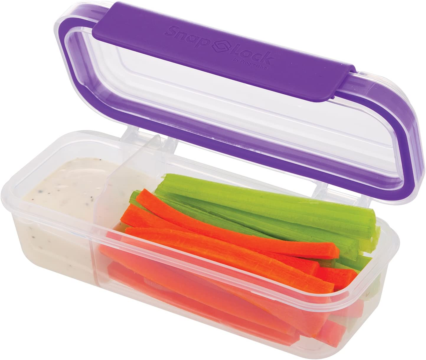 SnapLock by Progressive Snack Box Container - Purple, SNL-1020PEasy-To-Open, Leak-Proof Silicone Seal, Snap-Off Lid, Stackable, BPA FREE