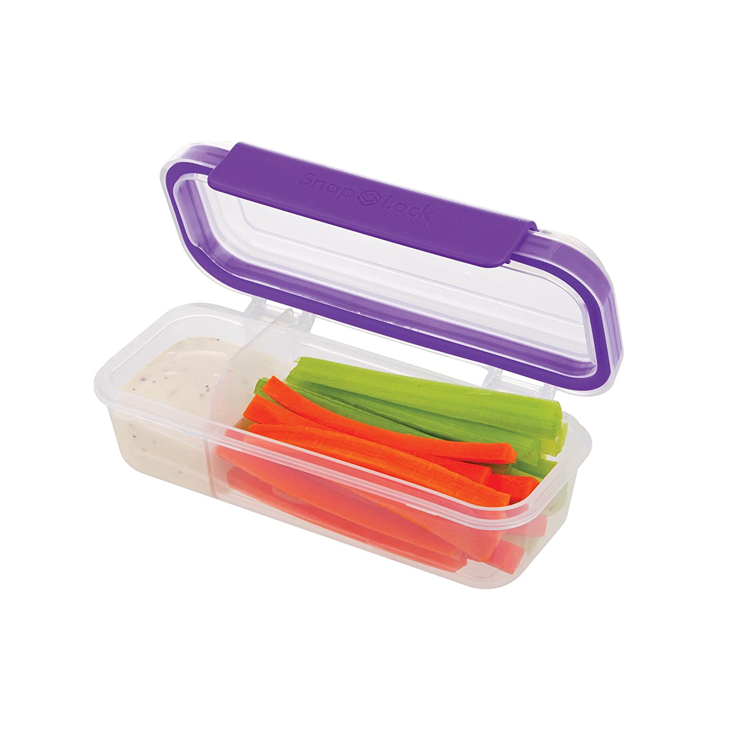 SNL-1020P  Easy-To-Open Stackable SnapLock by Progressive Snack Box Container Snap-Off Lid Purple BPA FREE Leak-Proof Silicone Seal