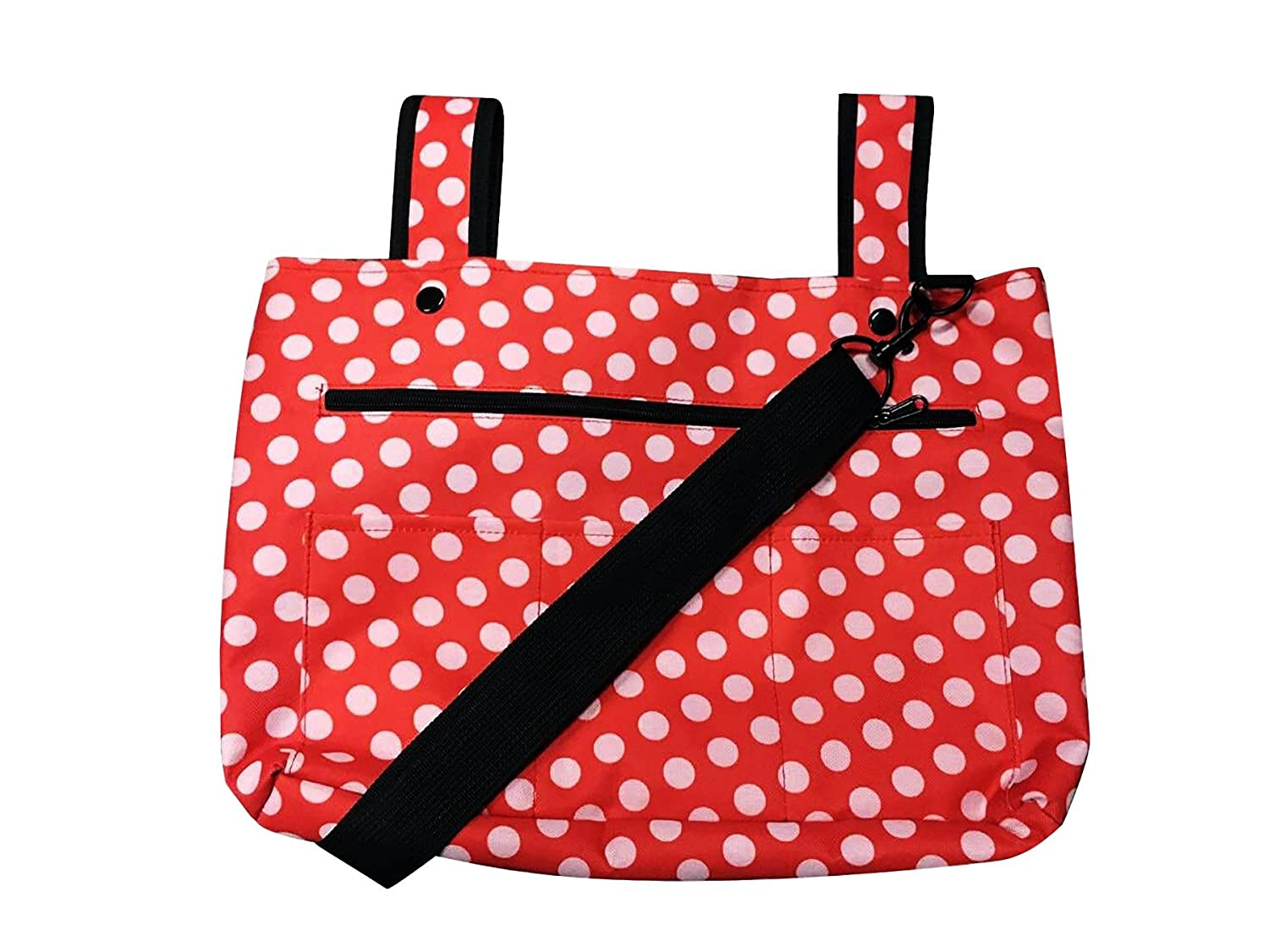 Snapster Snap On Tote Bag for Walker, Stroller Or Shopping Cart (Red/White Dot) Two Lumps of Sugar