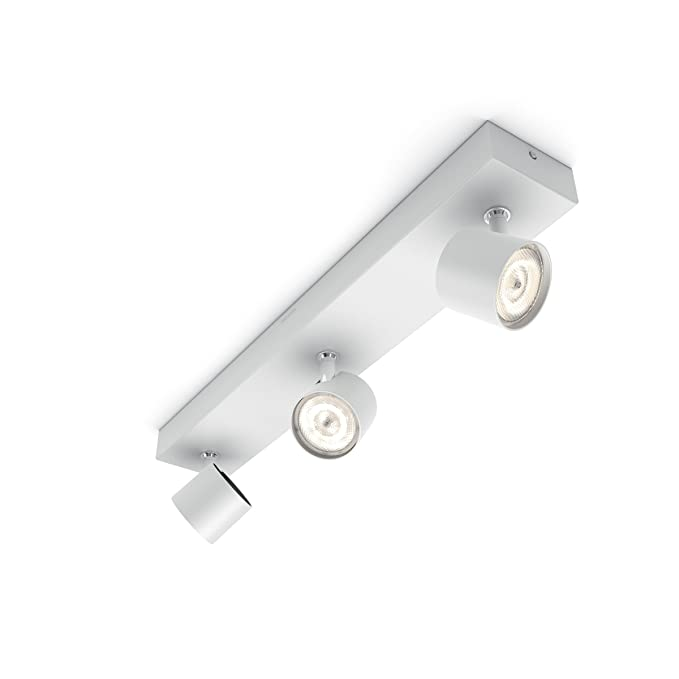 Philips myLiving Star-Barra de Tres focos de Techo, LED Integrado, Consume 4.5 W, luz Blanca cálida, Regulable, 3: Amazon.es: Iluminación