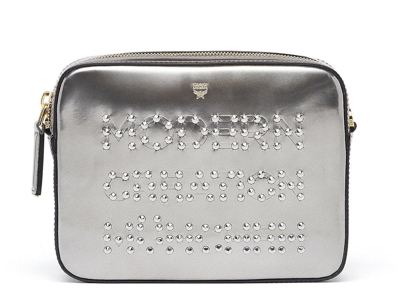 e3e4cb5c0371 Amazon.com | MCM Silver Vachetta Leather Repro Mini Crossbody ...