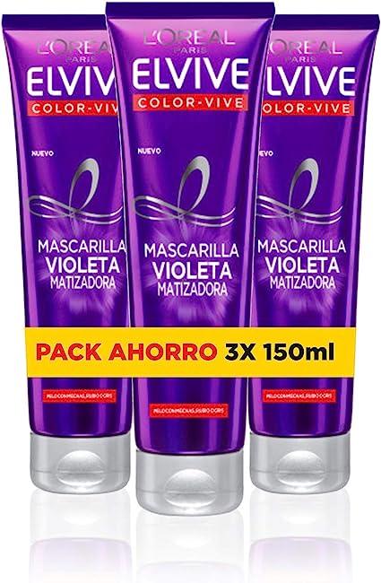 LOreal Paris Elvive Color Vive - Mascarilla Violeta Matizadora para Pelo Teñido, Rubio, Decolorado o Gris - Pack Ahorro de 3 Unidades x 150 ml, Total: 450 ml: Amazon.es: Belleza