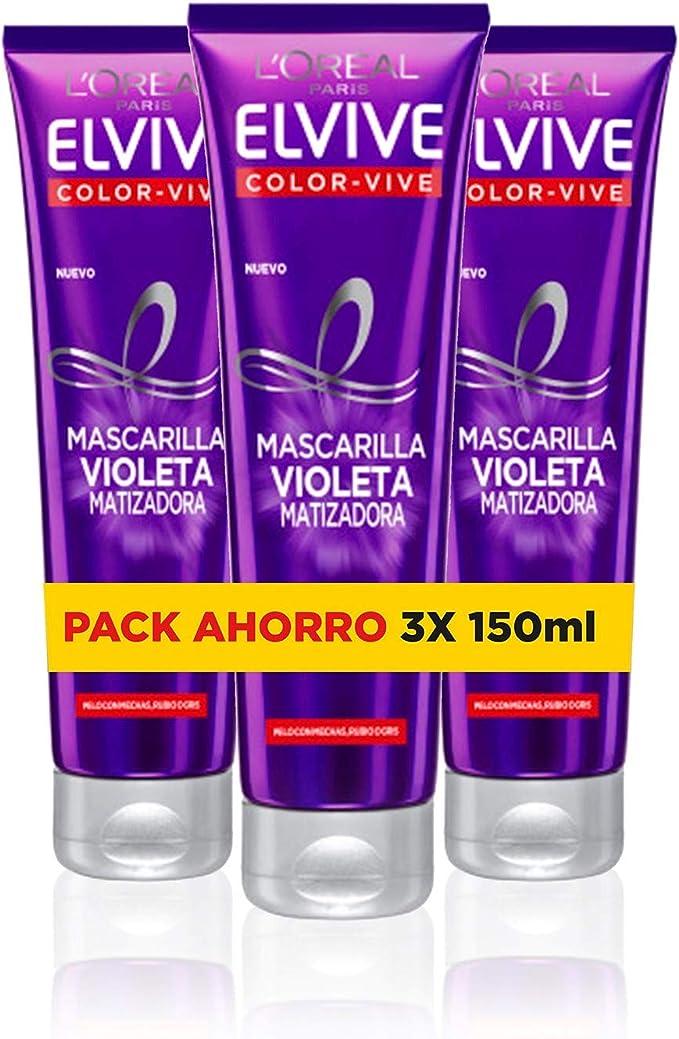 LOreal Paris Elvive Color Vive - Mascarilla Violeta Matizadora para Pelo Teñido, Rubio, Decolorado o Gris - Pack Ahorro de 3 Unidades x 150 ml, ...