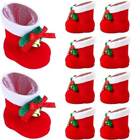 10 pcs Bottes de P/ère No/ël Candy Sac cadeau Chaussures Rouge Chaussette Snacks Pen Container Sacs Home D/écorations Arbre de No/ël D/écorations /à suspendre Pendentifs D/écor