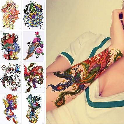 8 piezas pavo real patrón de diseño flores de colores Temporal ...