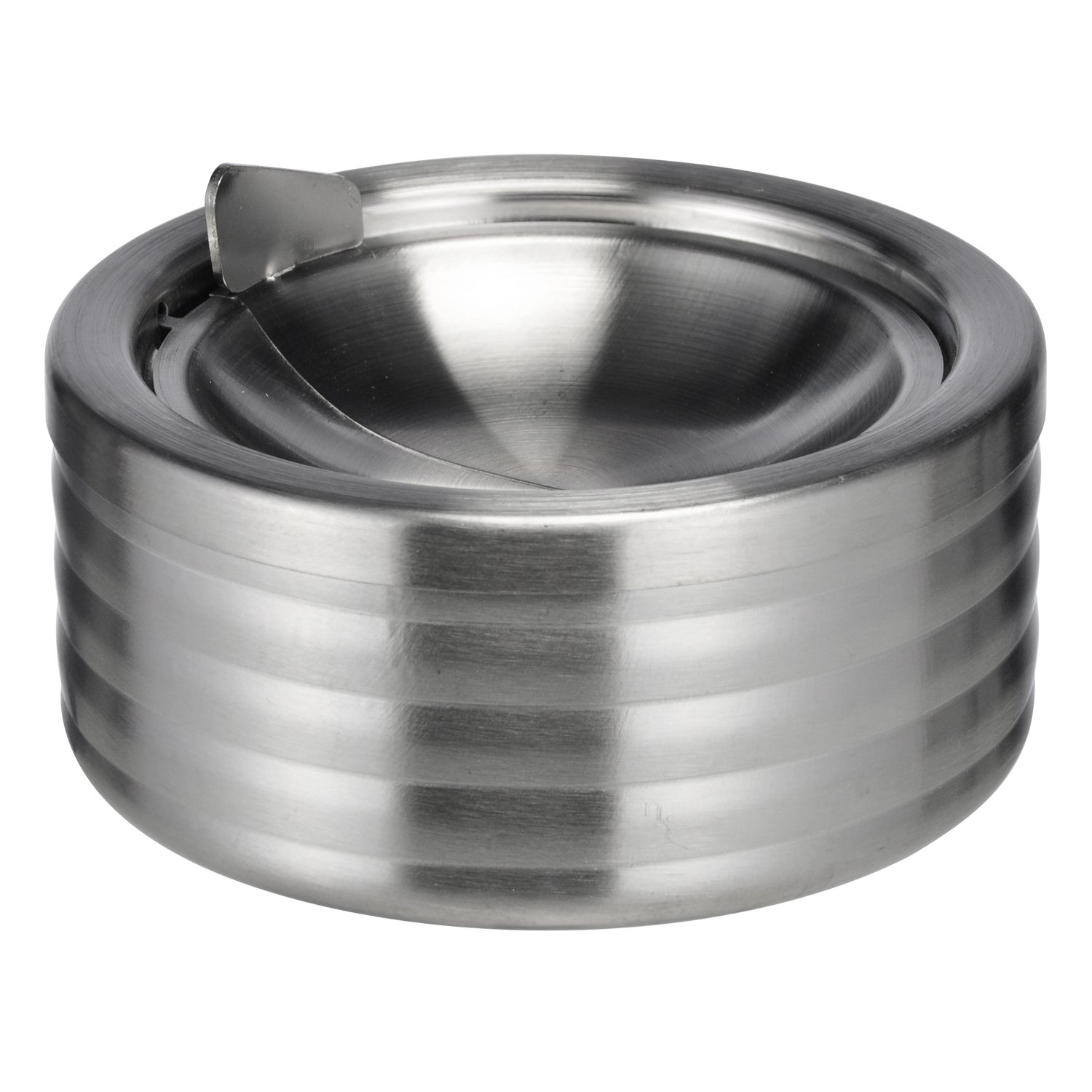 Land-House-Shop, stainless steel wind ashtray with hinged, folding lid, 11.8 cm diameter