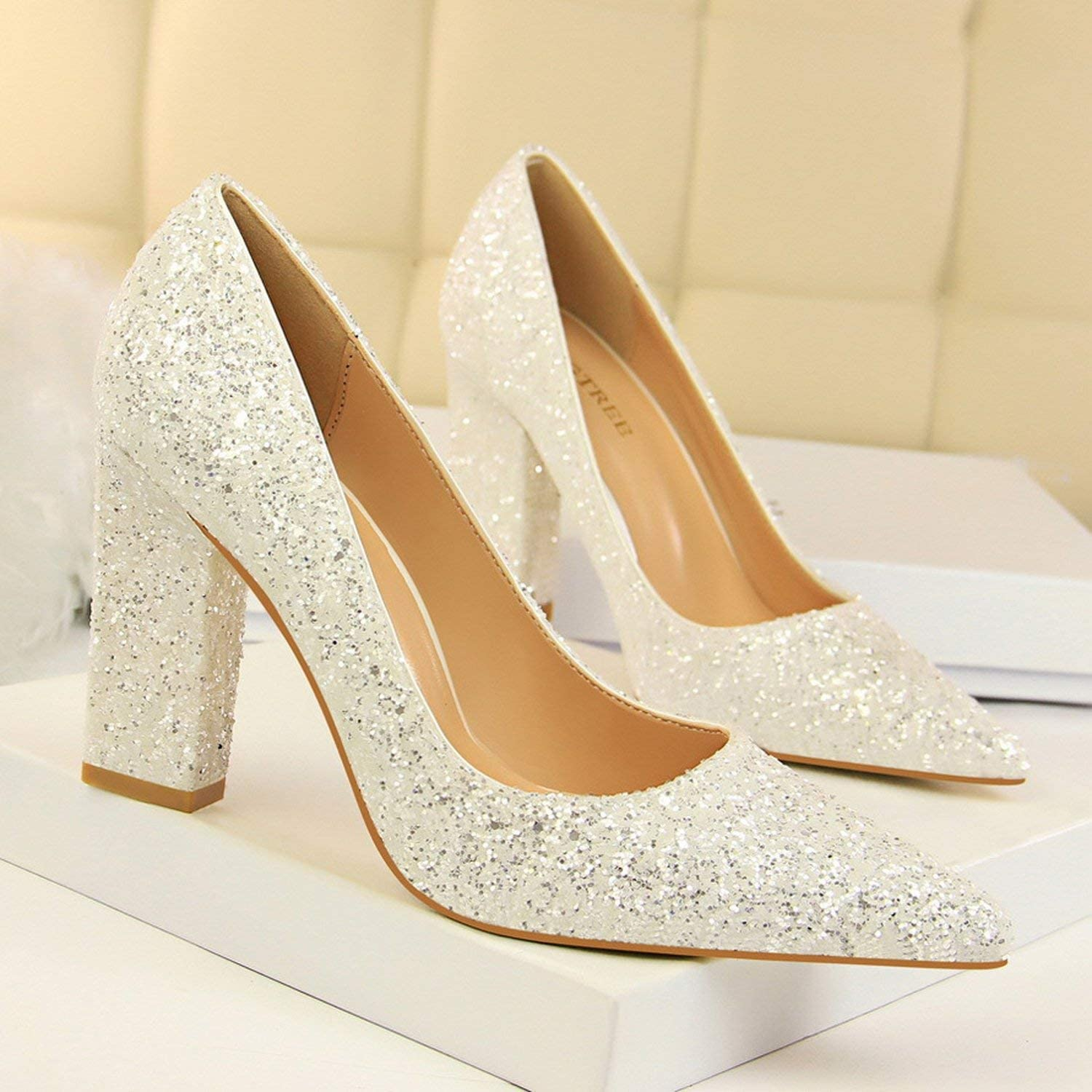 Thick Heels Sequined Glitters Shiny Point Toe Wedding Dress High Heels Pumps