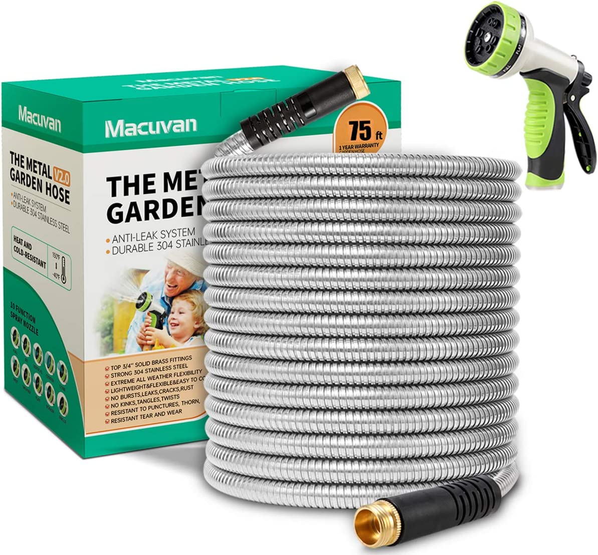 Macuvan Flexible Metal Garden Hose 75ft-Heavy Duty Water Hose with Durable 304 Stainless Steel and 10 Way Spray Nozzle-Strong 3/4'' Solid Brass Fittings-Outdoor Yard No Kink Lightweight Long Hose Pipe