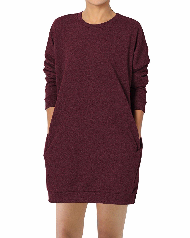 GIKING Women's Long Sleeve Pockets Winter Loose Pullover Sweatshirts T-Shirt Dress Wine Red M