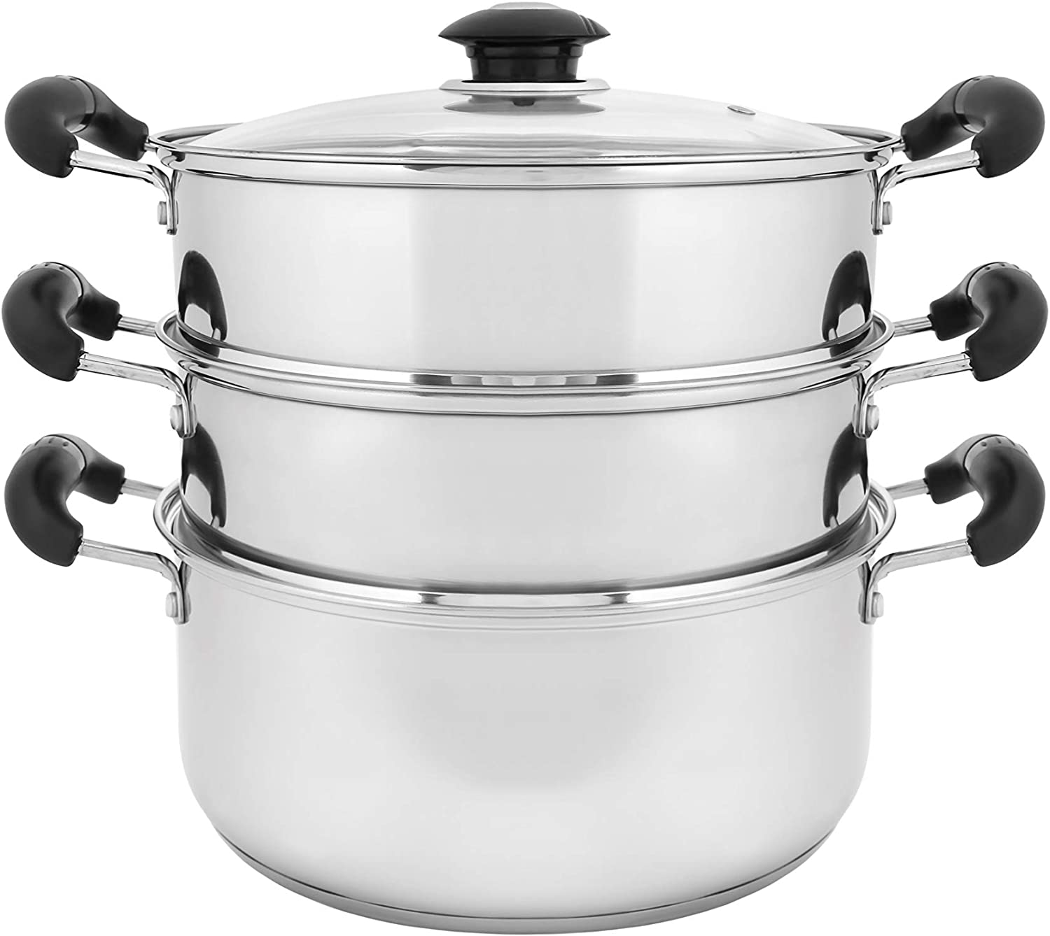 "CONCORD 10"" Stainless Steel 3 Tier Steamer Steaming Pot Cookware 24 CM (Induction Compatible)"