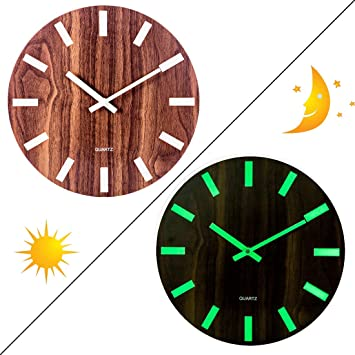 Searchyou - Reloj Pared Luminoso, 30CM Reloj de Pared Madera Silencioso Redondo Decorativo para Cocina