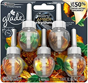 Glade Plugins Scented Oil with 50% Longer Lasting Fragrance; Sultry Amber Rhythm (5-Count)