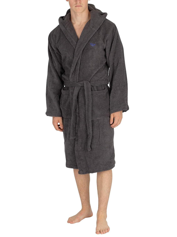 Emporio Armani Mens Eagle Logo Hooded Robe
