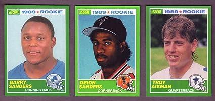 Troy Aikman Barry Sanders And Deion Sanders 1989 Score