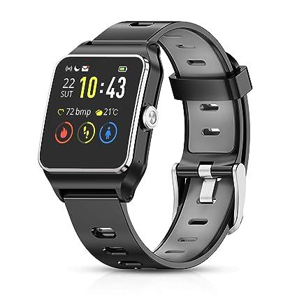 HolyHigh Reloj Inteligente Smartwatch Mujer Hombre Impermeable IP68 Pantalla Táctil Pulsera de Actividad Reloj Bluetooth con GPS Monitor de Ritmo ...
