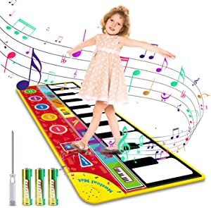 "Magicfun Kids Musical Mat, Musical Piano Mat 8 Instrument Sounds 5 Play Modes with 3AA Batteries and Screwdriver Set Dance and Learn Mat for 2 3 3+ Year Old Boy Girl Toys 58.26"" x 23.62"""