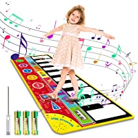 """Magicfun Kids Musical Mat, Musical Piano Mat 8 Instrument Sounds 5 Play Modes with 3AA Batteries and Screwdriver Set Dance and Learn Mat for 2 3 3+ Year Old Boy Girl Toys 58.26"""" x 23.62"""""""