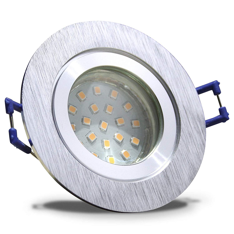 5 Stück IP44 SMD LED Bad Einbaustrahler Aqua 12V 3 Watt Rund BiFarbe Neutralweiß inkl. LED Trafo