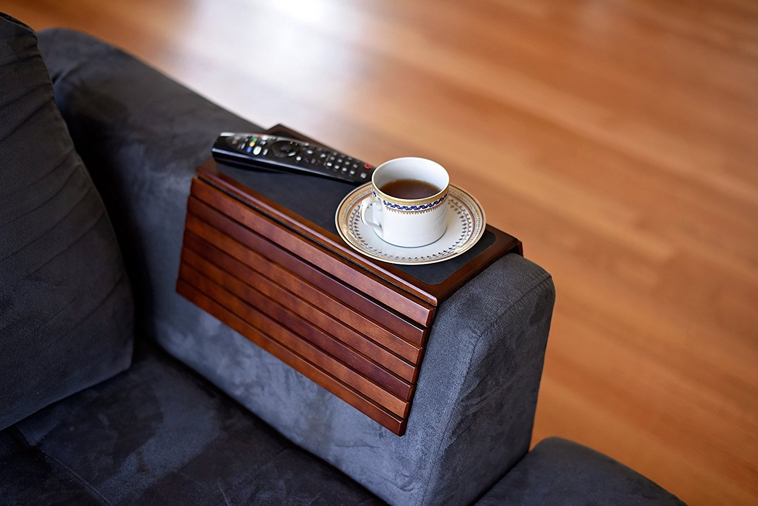 baarbird Sofa Armrest Table Tray Round and Square Couch, Loveseat, Recliner Rest for Drinks, TV Controls, Laptop Mice | Non-Slip Surface and Bottom >>> BUY 2 GET 10% OFF by baarbird (Image #1)