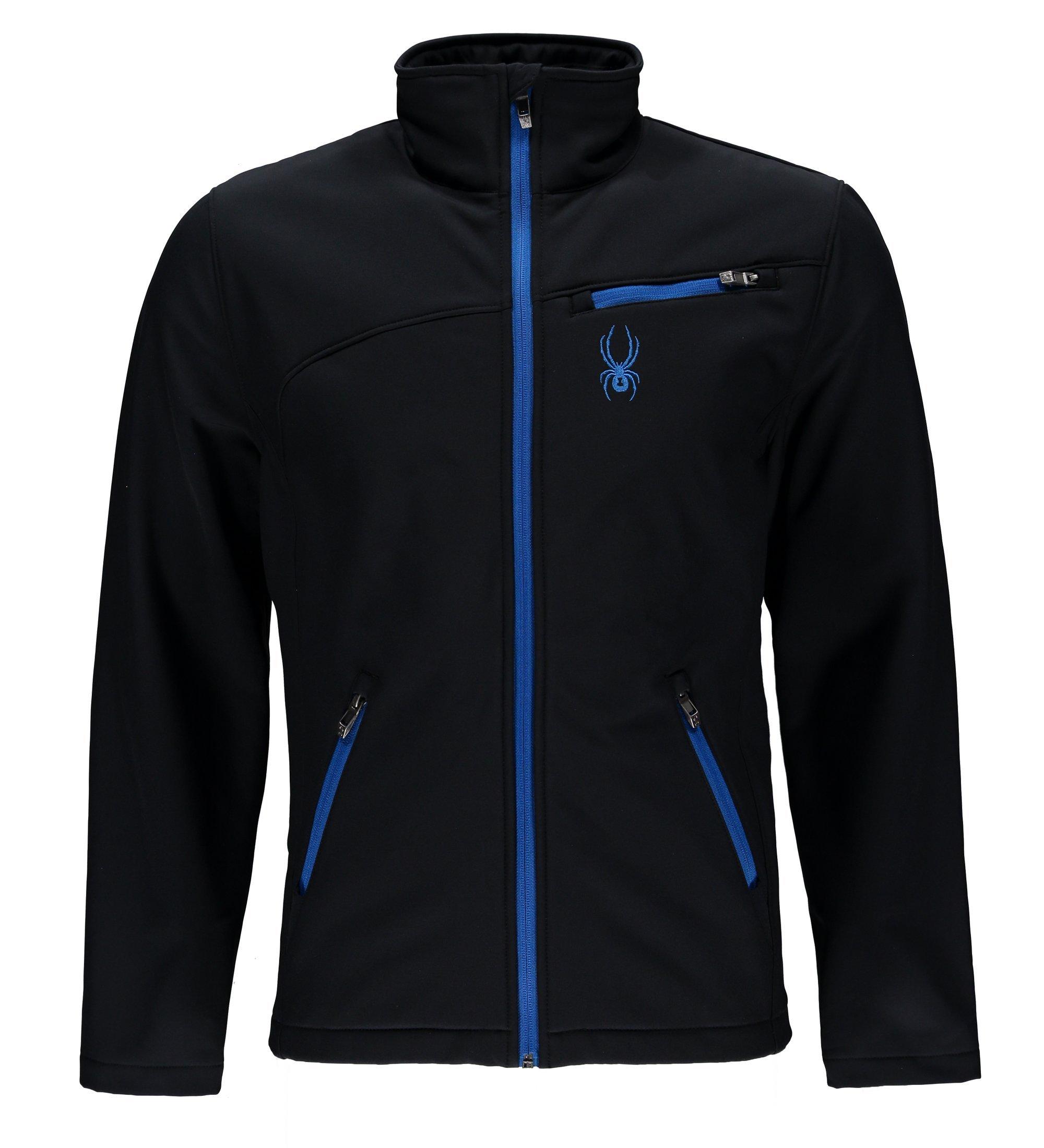 Spyder Men's Softshell Jacket, Black/Stratos Blue, XX-Large