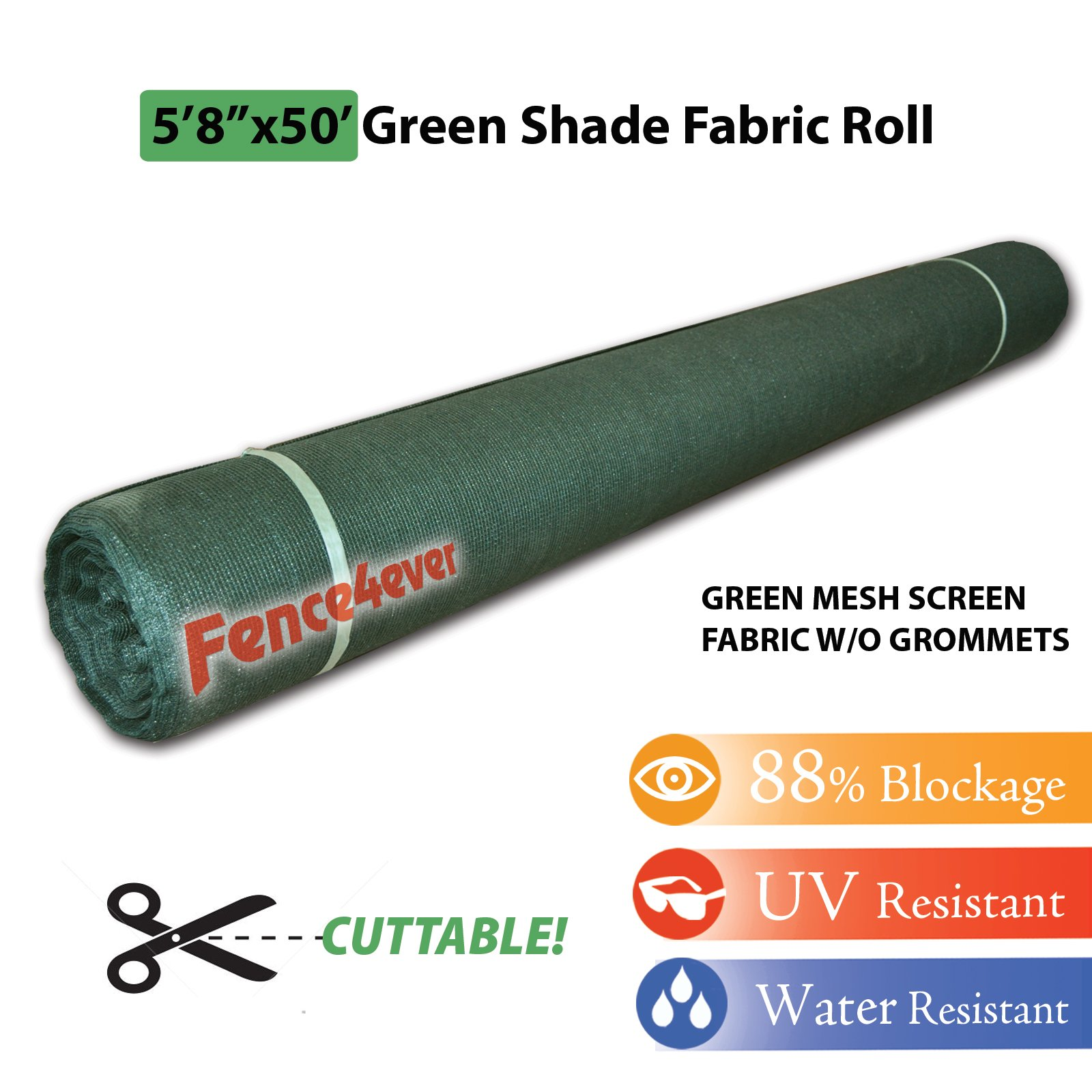 Fence4ever 5'8'' x 50ft Green Sunscreen Shade Fabric Roll 88% Uv Block