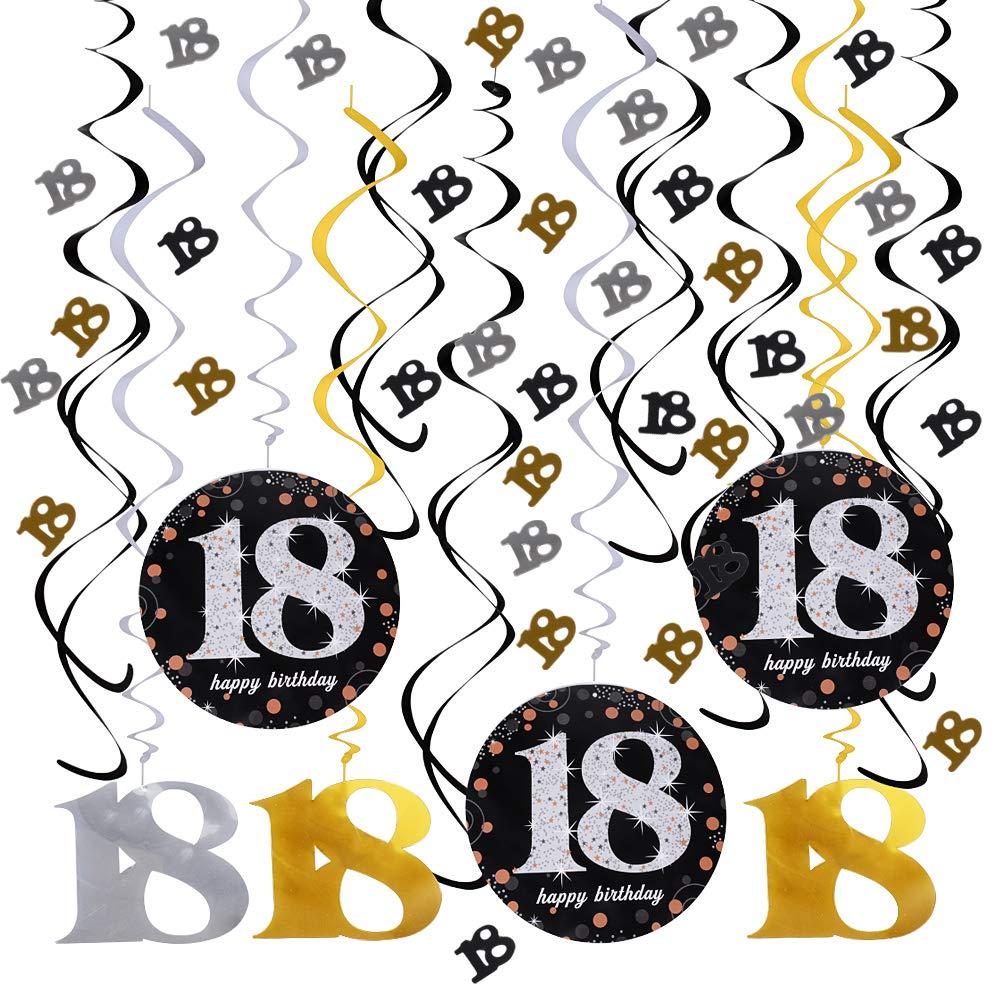 JNCH Decoracion 18 Cumpleaños Adorno Espiral Decoración ...