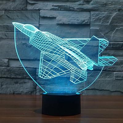 Nouveauté Avion 3D Illusion Lampe, FZAI 7 Couleurs Clignotant USB Alimenté Tactile Commutateur Chambre Led Veilleuses pour Garçons Cadeaux D'anniversaire