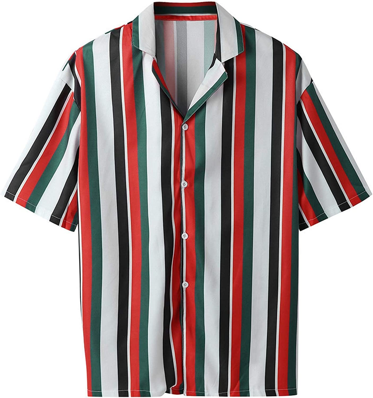 Yulongo Men Shirt Summer Casual Striped Short-Sleeve Tops Blouse Men Hawaiian Shirts Men Dress