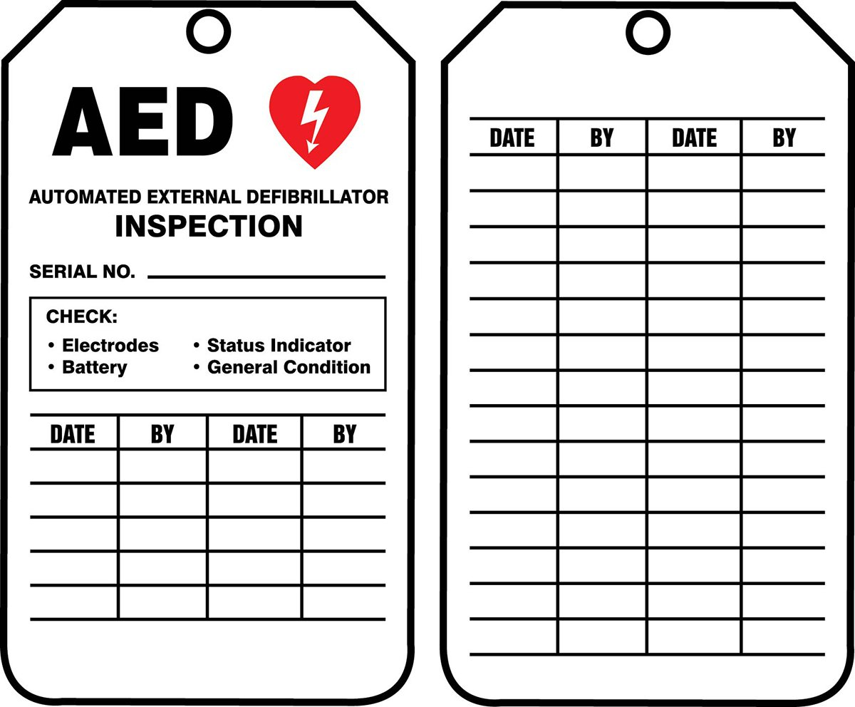"Accuform TRS345CTP PF-Cardstock Inspection Record Tag, Legend""AED AUTOMATED External DEFIBRILLATOR Inspection"", 5.75"" x 3.25"", Red/Black on White (Pack of 25)"