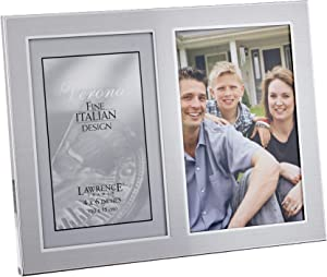 Lawrence Frames 2-Tone Double Opening Panel Picture Frame, 4 by 6-Inch, Brushed Silver Metal and Shiny Metal