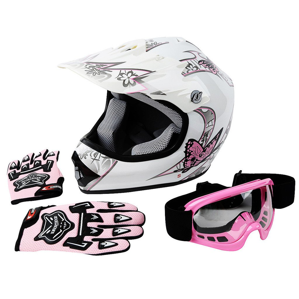 XFMT Youth Kids Motocross Offroad Street Dirt Bike Helmet Goggles Gloves Atv Mx Helmet Pink Butterfly S