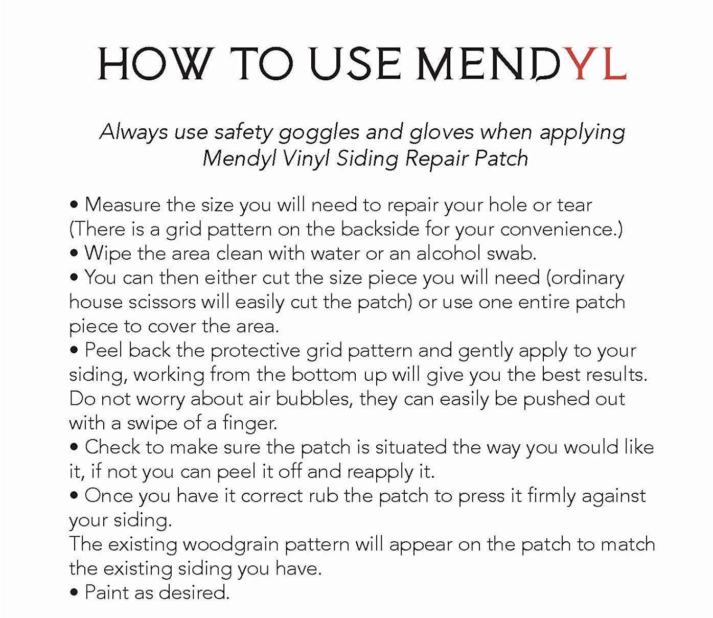 Mendyl Vinyl Siding Repair Kit, Cover Any Cracks, Holes, or Blemishes on Vinyl Siding - 10 Patches by Mendyl