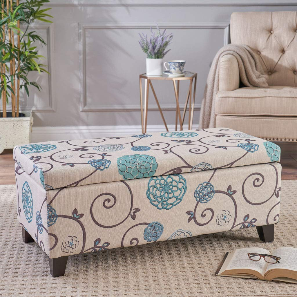Christopher Knight Home Living Brenway Pattern Fabric Storage Ottoman, 19.00''L x 38.50''W x 16.00''H, White and Blue Floral by Christopher Knight Home