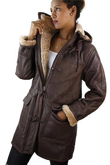 Manteau femme veste cuir peau de mouton retournée véritable marron beige