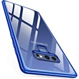 TORRAS Crystal Clear Galaxy Note 9 Case, Clear Ultra Thin Slim Fit Soft TPU Gel Case Cover Electroplated Frame Compatible Samsung Galaxy Note 9(2018), Clear Back/Blue Frame