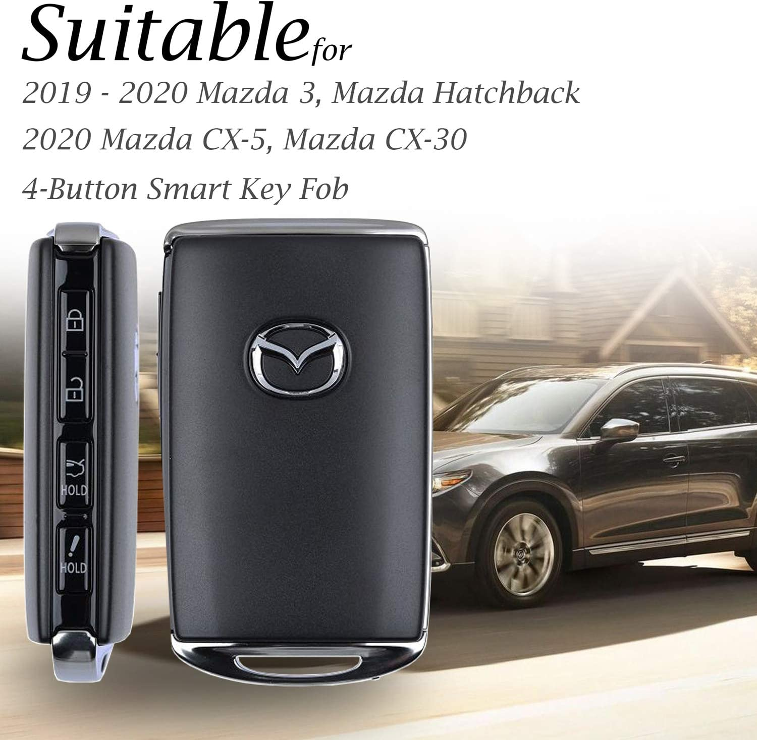 CX-30 4-Button, Brown Mazda 3 Hatchback 2020 Mazda CX-5 Vitodeco Genuine Leather Smart Key Fob Case Cover Protector with Leather Key Holder for 2019-2020 Mazda 3