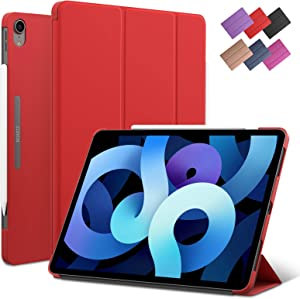 iPad Air 4 10.9-inch case, ROARTZ Red Slim Fit Smart Rubber Coated Folio Case Hard Cover Light-Weight Wake/Sleep for Apple iPad Air 4th Generation 2020 Lastest Model