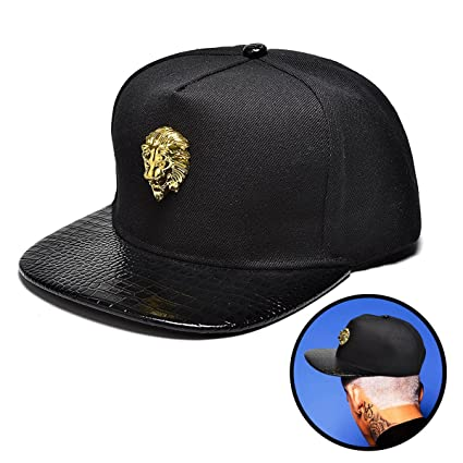 6e8c5c18953 Amazon.com   NUKI Unisex 3d Metal Stud Adjustable Flat Bill Snapback ...