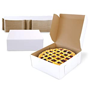 [25 Pack] Pastry Boxes - 7 x 7 x 3 Inches White Bakery Box for Cookies, Compostable Kraft Paper Cardboard for Baked Goods Packaging, Cake, Food Treat, Donut, Cupcake, Candy, Bread, Bridesmaid Gift Box