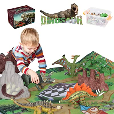 Jamal Dinosaur Toys Kids Play Set - 31 Piece Playset of Realistic Dinosaurs Figures in a Bucket Incl Dinasors, Trees, Rocks & 1 Playmats - Lots of Dinosour Fun & Adventure, for Boys & Girls Age 3+: Toys & Games